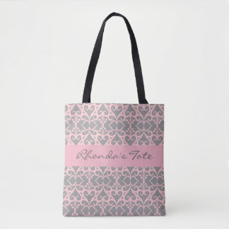 Pink and Gray Customized Tote Bag