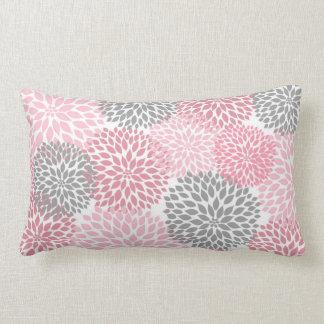 Pink and Gray Dahlia / Mums rectangular pillow