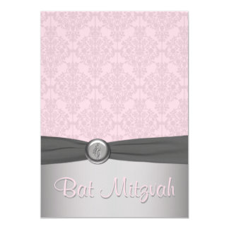 Pink and Gray Damask Ballet Bat Mitzvah Invitation