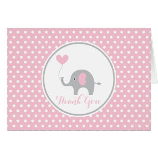 Pink and Gray Elephant Birthday Thank You Note Card