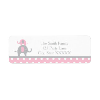 Pink and Gray Elephant Return Address Label