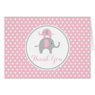Pink and Gray Elephant Thank You Note Card