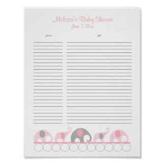 Pink and Gray Elephants Baby Shower Gift List Poster