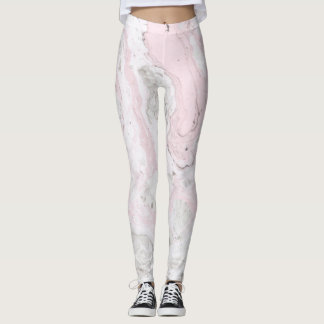 Pink and Gray Faux Marble Modern Leggings