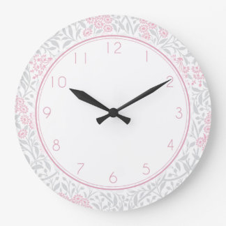 Pink and Gray Floral Damask Pattern Large Clock