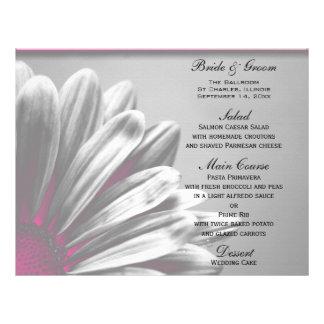 Pink and Gray Floral Highlights Wedding Menu 21.5 Cm X 28 Cm Flyer