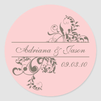 Pink and Gray Flourish Monogram Sticker