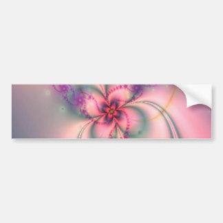Pink And Gray Flower Bumper Sticker