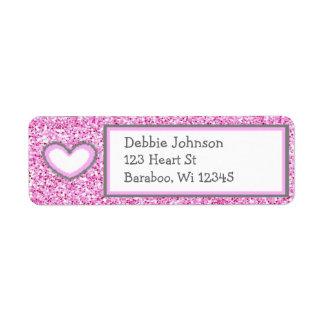 Pink and Gray Glitter Return Address Sticker