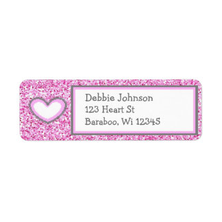 Pink and Gray Glitter Return Address Sticker Return Address Label