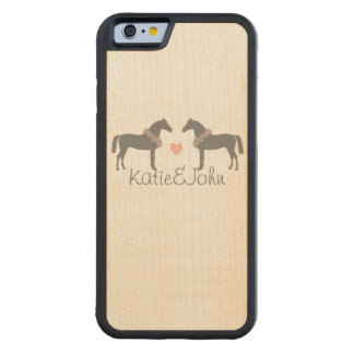 Pink and Gray Horses Wedding Carved® Maple iPhone 6 Bumper