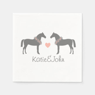 Pink and Gray Horses Wedding Paper Napkins