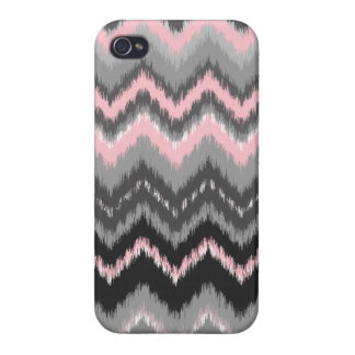 Pink and Gray Ikat Chevron iPhone 4/4S Case