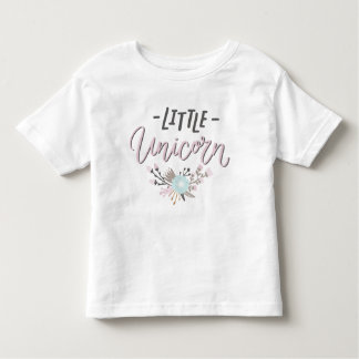 Pink and Gray Little Unicorn Hand Lettered Floral Toddler T-Shirt
