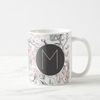 Pink and Gray Marble Print Monogrammed Coffee Mug