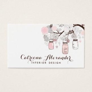 Pink and Gray Mason Jars Business Card