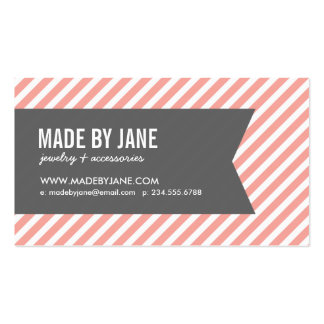 Pink and Gray Modern Stripes Social Media Pack Of Standard Business Cards