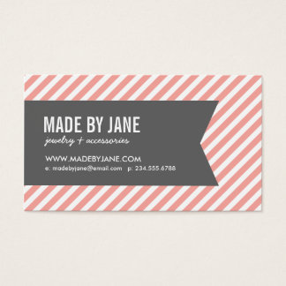 Pink and Gray Modern Stripes Social Media Business Card
