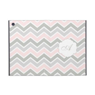 Pink and Gray Monogram Zigzag Chevron Pattern Case For iPad Mini