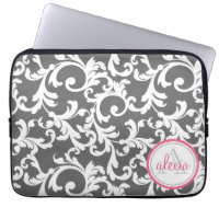 Pink and Gray Monogrammed Damask Print Laptop Sleeves