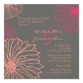 Pink and Gray Mum Flowers Wedding Invitation