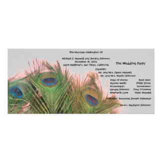 Pink and Gray Peacock Wedding Program Rack Card