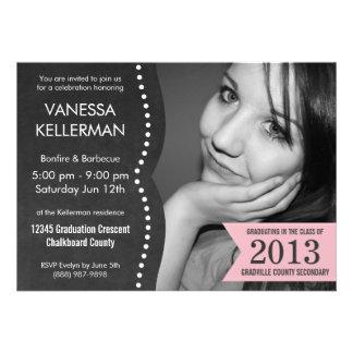 Pink and Gray Photo Chalkboard Graduation Personalized Invitations