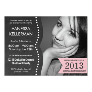 Pink and Gray Photo Chalkboard Graduation 13 Cm X 18 Cm Invitation Card