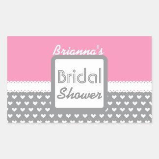 Pink and Gray Polka Dot Theme Bridal Shower B01 Rectangular Sticker