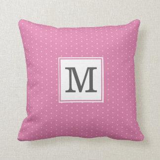 Pink and Gray Polka Dot with Custom Monogram Cushion