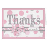 Pink and Gray Polka Dots Thank You Baby Shower Cards