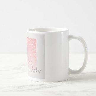 Pink and Gray Rose Save the Date Basic White Mug