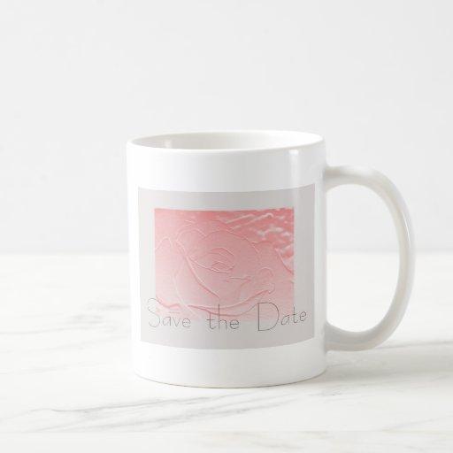 Pink and Gray Rose Save the Date Mug