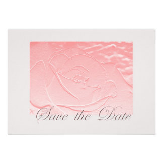 Pink and Gray Save the Date Rose Invitation