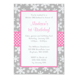 Pink and Gray Snowflakes Winter Onederland 13 Cm X 18 Cm Invitation Card