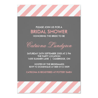Pink and Gray Stripes Bridal Shower Invitation