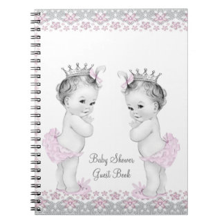 Pink and Gray Twins Baby Shower Guest Book Notebook