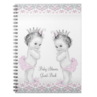 Pink and Gray Twins Baby Shower Guest Book Spiral Note Books