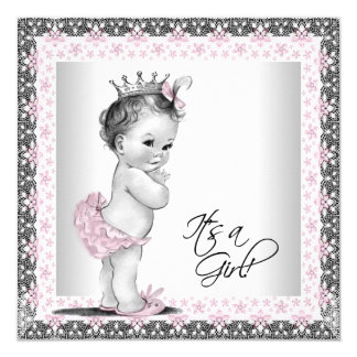 Pink and Gray Vintage Baby Girl Shower 13 Cm X 13 Cm Square Invitation Card