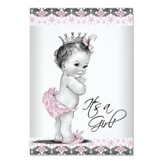 Pink and Gray Vintage Baby Girl Shower 9 Cm X 13 Cm Invitation Card