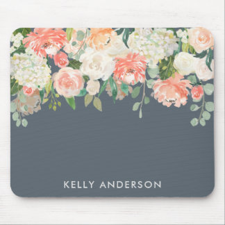 Pink and Gray Watercolor Floral with Your Name Mouse Mat