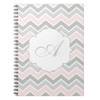 Pink and Gray Zigzag Chevron Monogram Notebook