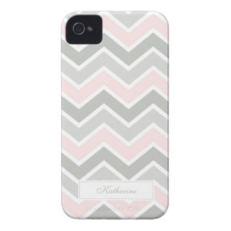 Pink and Gray Zigzag Chevron Pattern iPhone 4 Cases