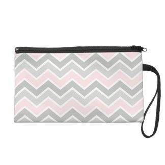 Pink and Gray Zigzag Chevron Pattern Wristlet Purses