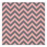 Pink and Gray Zigzag Posters