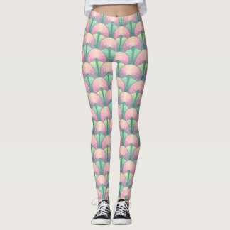 Pink and Green Abstract Oriental Flower Leggings
