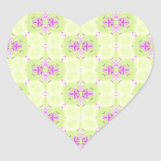 Pink and Green Abstract Pattern Heart Sticker
