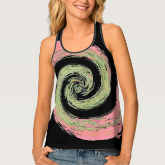 Pink and Green Abstract Swirling Black Tank Top