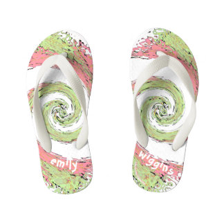 Pink and Green  Abstract Swirling Flip Flops