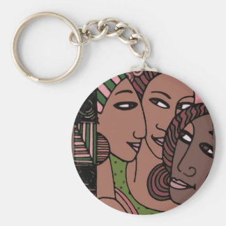 Pink and Green African American Women Key Chain